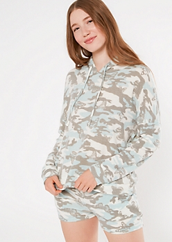Blue Butterfly Camo Print Hacci Knit Slouchy Hoodie