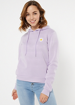 Lavender Daisy Embroidered Hoodie