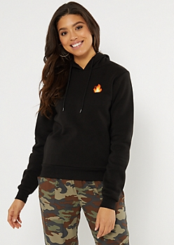 Black Flame Embroidered Hoodie