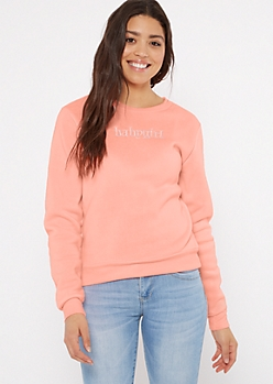 Neon Coral Baby Girl Embroidered Pullover