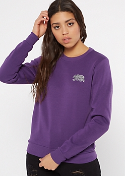 Purple Checkered Print Cali Bear Pullover