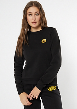 Black Sunflower Embroidered Pullover