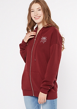 Burgundy Rose Embroidered Zip Up Boyfriend Hoodie