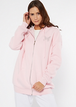 Light Pink Rhinestone Butterfly Boyfriend Zip Hoodie