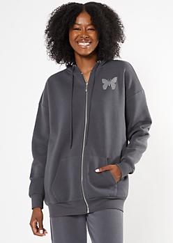 Charcoal Gray Butterfly Rhinestone Boyfriend Zip Up Hoodie