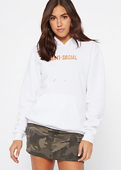 White Anti Social Embroidered Hoodie