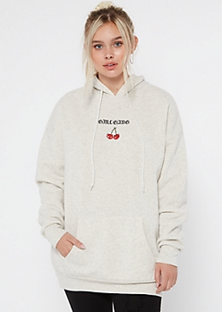 Heather Gray Girl Gang Embroidered Oversize Hoodie