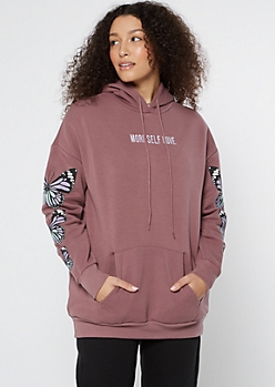 Teal Skull Butterfly Embroidered Boyfriend Hoodie