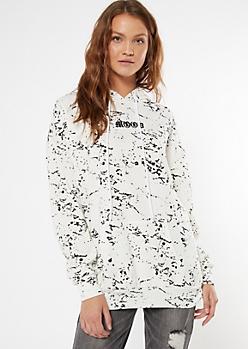 White Paint Splatter Embroidered Mood Boyfriend Hoodie