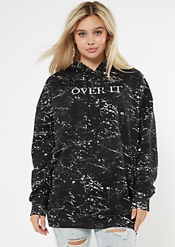 Black Embroidered Over It Boyfriend Hoodie