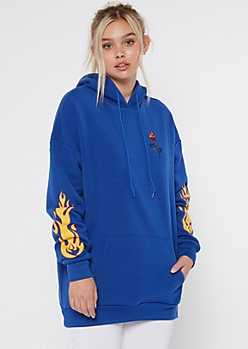 Royal Blue Flaming Rose Embroidered Oversize Hoodie