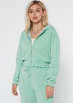 Mint Smocked Cozy Zip Up Hoodie
