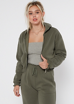 Olive Smocked Cozy Zip Up Hoodie
