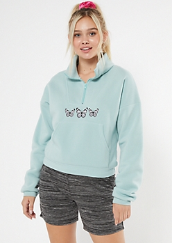 Light Blue Butterfly Half Zip Embroidered Sweatshirt