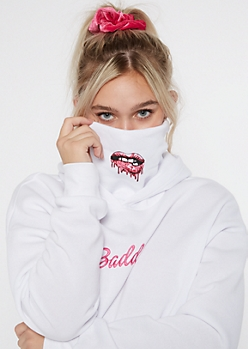 White Embroidered Baddie Face Mask Hoodie