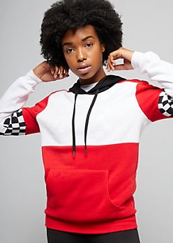 Red Colorblock Checkered Print Varsity Striped Pullover Hoodie