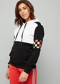 Black Colorblock Rainbow Checkered Print Sleeve Hoodie