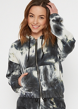 Black Tie Dye Fleece Zip Up Hoodie