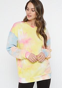 Pastel Rainbow Tie Dye Pullover