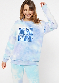 Blue Tie Dye Take Care Embroidered Pullover