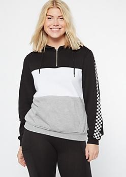 Black Checkered Striped Colorblock Half Zip Hoodie
