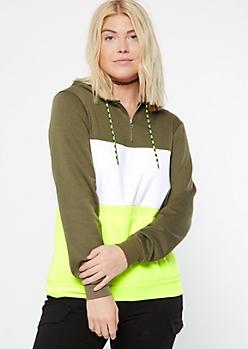 Olive Neon Colorblock Half Zip Hoodie
