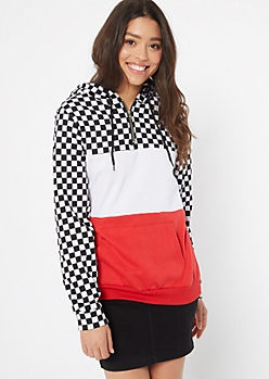 Red Checkered Print Colorblock Hoodie