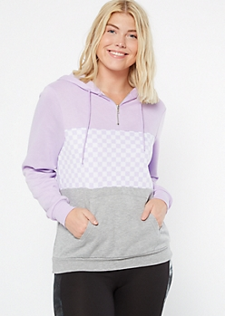 Lavender Checkered Print Colorblock Hoodie