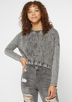 Black Mineral Wash Love Hate Cropped Sweatshirt