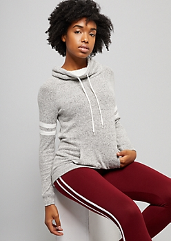 Gray Sherpa Lined Cowl Neck Hacci Sweatshirt