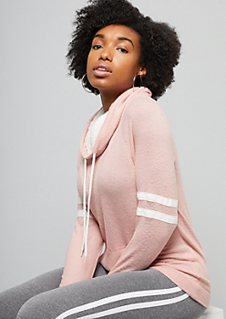 Pink Sherpa Lined Cowl Neck Hacci Top