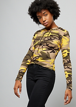 Yellow Camo Print Soft Knit Skimmer Hoodie