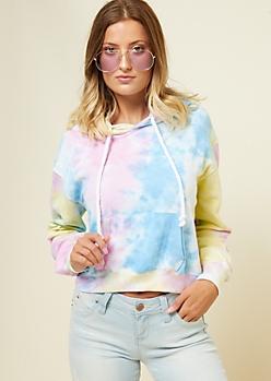 Pastel Tie Dye Cord Drawstring Skimmer Hoodie