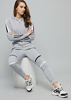 Gray Side Striped Moto Elbow Zip Front Hoodie
