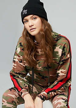 Camo Print Side Striped Skimmer Hoodie