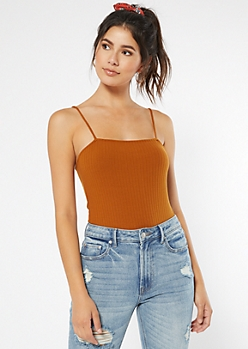 Burnt Orange Ribbed Knit Square Neck Bodysuit
