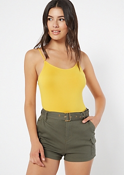 Mustard Super Soft Scoop Neck Bungee Bodysuit