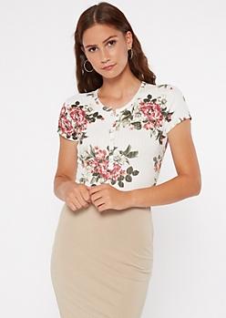 Ivory Floral Print Super Soft Ribbed Henley Bodysuit