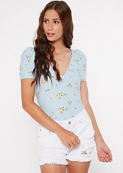 Blue Floral Print V Neck Ruched Sleeve Super Soft Bodysuit