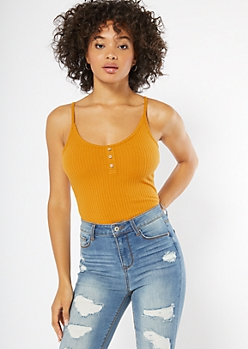 Cognac Ribbed Knit Button Down Sleeveless Bodysuit