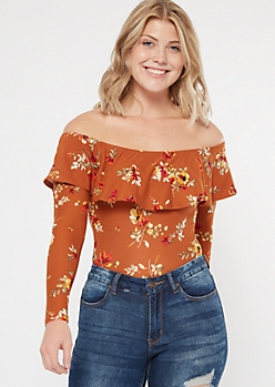 Burnt Orange Floral Print Flounce Super Soft Bodysuit