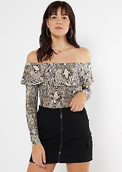 Snakeskin Print Flounce Super Soft Bodysuit