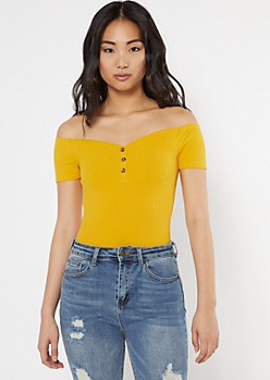 Yellow Button Down Bodysuit