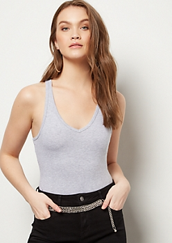 Gray V Neck Tank Top Bodysuit