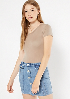 Taupe Short Sleeve Favorite Bodysuit