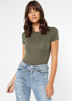 Olive Short Sleeve Favorite Bodysuit
