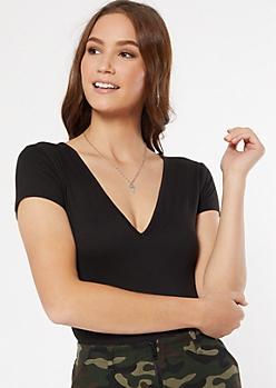 Black V Neck Super Soft Bodysuit