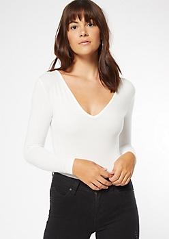 Ivory Super Soft V Neck Bodysuit
