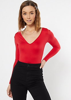 Red Super Soft V Neck Bodysuit
