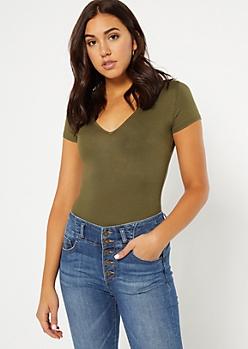 Olive V Neck Essential Bodysuit